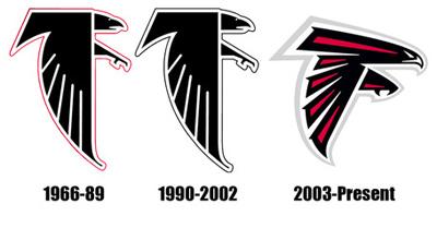 Les logos des Falcons de 1966 à maintenant