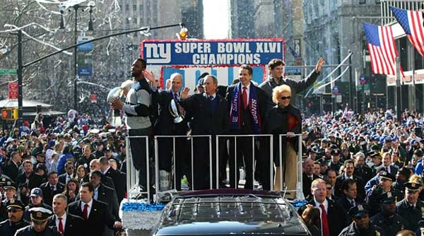 Le bus des Giants remonte Manhattan